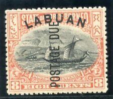 Labuan 1901 KEVII Postage Due 8c black & vermilion (p13½-14) MLH. SG D6. Sc J6.