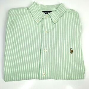 Men's Ralph Lauren Medium Green White Striped Shirt Collar Classic Fit (1358 D8)