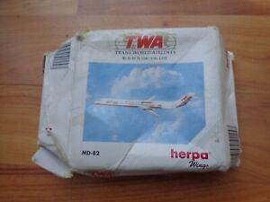 511247 HERPA WINGS 1:500 TWA TRANS WORLD AIRLINES MCDONNELL DOUGLAS MD-82 PLANE