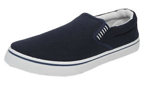 Mens Boys Canvas Boat Yachting Deck Shoes Slip On Pumps DEK Blue Size 4-13
