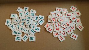 112 Plastic Letter Tiles from 1999 HANGMAN game (56 blue/56 orange)