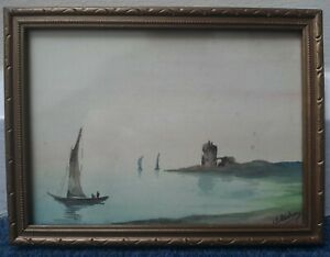 Beautiful Victorian Watercolour Painting In Ornate Frame Boats And Castle Signed