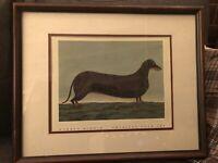 WARREN KIMBLE American Folk Art Primitive Dachshund weiner dog Framed Print