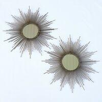 "Gold Starburst Wall Mirrors Set of 2 16"" MCM Mid Century Style"