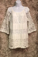 ND New Directions Sz L White Lace Cold Shoulder Long Sleeve Blouse Top - NWT