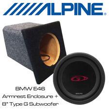 """BMW E46 Convertible costumbre construido apoyabrazos bajo caja con 8"""" SUBWOOFER COCHE ALPINE"""