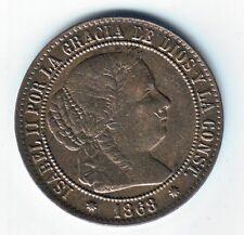 ESPAÑA: 2 1/2 centimos de Escudo 1868 ceca de  Barcelona - Reina Isabel II Spain