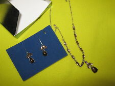 """BROWN SILVER-TONE CABOCHON """"Y"""" NECKLACE & EARRINGS 3-PC Jewelry~Avon~NEW IN BOX"""