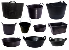 TUBTRUG BLACK SKIP FEED RUBBER BUCKET FLEXI TUB HOOK OVER MANGER HORSE FEED