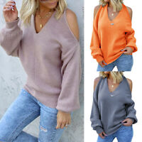 Women's Cold Shoulder V Neck Sweater Ladies Baggy Long Sleeve Pullover Jumper