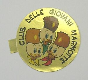 VECCHIO ADESIVO / Old Sticker DISNEY QUI QUO QUA CLUB GIOVANI MARMOTTE (cm 5)