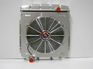 1954 1955 1956 Ford Full Size Aluminum Radiator with Fan and Shroud