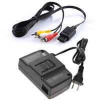 AC Adapter Power Supply &AV Cable Cord For Nintendo 64 N64 Bundle Lot Brand New