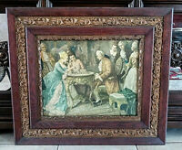 Antique Wood Framed Print 18th C. Era Rococo Scene Man & Woman Playing Chess