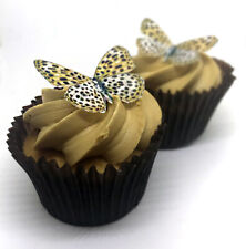 24 Leopard Print Butterfly Edible Wafer Paper Cupcake Toppers Cake Decorations