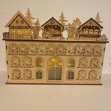 Wooden Christmas Advent Countdown Calendar Lights Drawers Laser Cut Folk Dance
