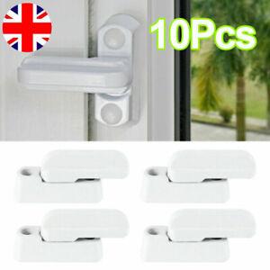 10Pcs Window Safety Locks UPVC Door Sash Jammer Security Restrictor Lock White