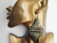 Boho Chic Ethnic Look Dangle Earrings with Diamante Antiqued Gold Tone 9 cm Drop