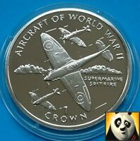 1995 ISLE OF MAN 1 Crown Spitfire Aircraft Of WWII Silver Proof Coin