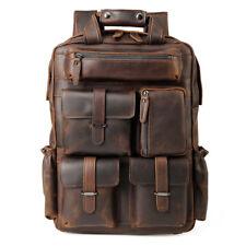 """Vintage Leather Men Work Backpack Travel 17"""" Laptop Daypack Satchel School Bag"""