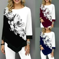 Women Irregular Floral Print 3/4 Sleeve Blouse Tops Ladies Casual Loose T-Shirt