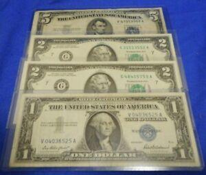 (Lot of 4) MIXED Circulated (2) $2 Bill 1976 & (1) $1 1957 & (1) $5 1953-A