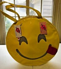 NEW Betsey Johnson LARGE Round YELLOW Happy Smile Face Insulated Cooler Tote Bag