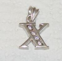 Anhänger Silber 4 Zirkonia Diamanten Buchstabe X  Anhänger Sterlingsilber 925