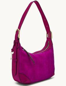 Fossil Hannah Hobo Shoulder Bag Magenta Leather & Suede ZB1309508 $238 Brass