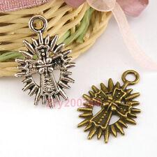 10Pcs Tibetan Silver,Antiqued Bronze Cross Shine Charms Pendants M1470
