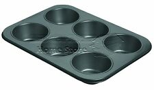 6  Muffin Fairy Cake Yorkshire Pudding Baking Deep Mould Cup Non StickTray Tin