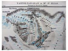 1889 Topham  ASCEND OF MOUNT ST ELIAS  Alaska Glaciers  COLOR MAP  Panorama - 7