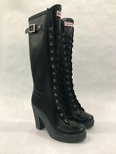 "Rare Hunter Lapin Lace Up Black Rain Boots 4"" Heel Knee High Waterproof US 7"