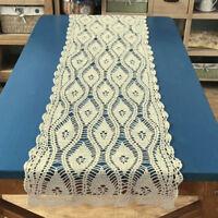 Vintage Hand Crochet Lace Table Runner Dresser Scarf Wedding Beige 15x59inch