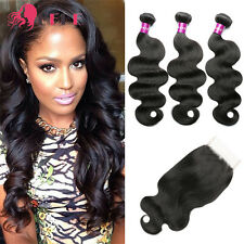 "Brazilian Virgin Human Hair 3 Bundles with Lace Closure Wavy 16"" 18"" 20"" +14"""