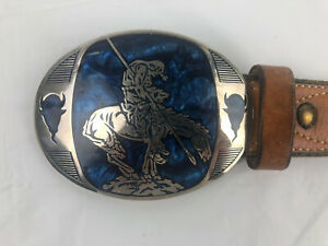 Vtg Milt Sparks Tan Leather belt Decorative Stitching Award Design Medals Buckle
