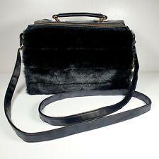 NEW LOOK Faux Leather & Fur Black Across Shoulder Strap Handbag Gold fittings
