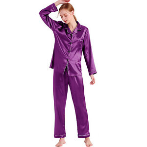 Women's Silk Satin Pajamas Set Ladies Long Sleeve Sleepwear Loungewear Nightwear