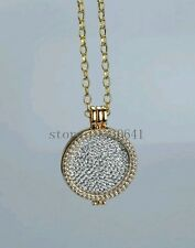 33mm Coin gold Necklace locket CZ Stainless Steel Disc Pendant BIRTHDAY CMD