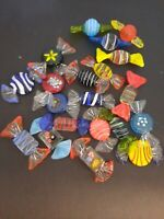 "20 Assorted Murano Art Glass Candies, Handmade Decorative Glass Candies 2"" Long"