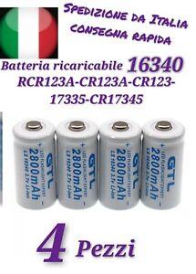 4x BATTERIE PILE RICARICABILE 16340 17335 CR 123A 3.7V 200-400mAh TORCIA RC1071