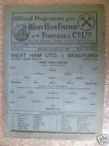 1947 League Programme  WEST HAM UNITED v BRADFORD PARK AVENUE 1st February, Rare