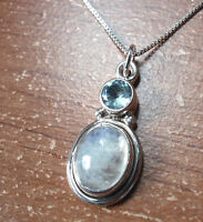 Faceted Topaz and Blue Moonstone 925 Sterling Silver Pendant Corona Sun