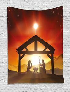 Religious Tapestry Baby Messiah Nativity Print Wall Hanging Decor 60Wx80L Inches