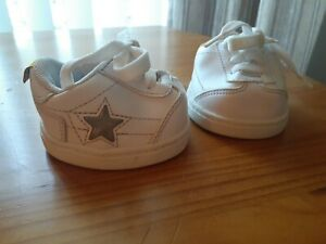 Build A Bear Athletic Tennis Shoes White Sneakers Red Light up star Lace up BABW