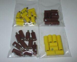 (Stck 24,88 ct) 40 Stecker/Querlochstecker und Muffen 2,6mm - gelb,braun *NEU*