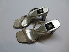 """Maurices Womens 7.5 Silver & Beige 3.5"""" Heel Shoes Good Condition"""