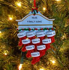 Red Stockings On Fireplace Mantle Family Of 10 Personalized Christmas Ornament