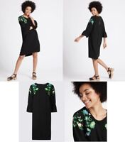 NEW EX M*S BLACK 3/4 BELL SLEEVE FLORAL EMBROIDERED TUNIC DRESS SIZES 8 - 20