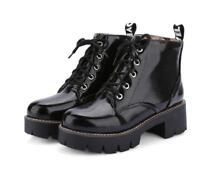 Womens Combat Lace Up Ankle Boots Patent Leather Fashion Flat Heel Shoes Sz35-40